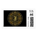 Letter J Classic Style Best Viewed Large View Note Postage Stamp