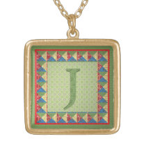 Letter J: 'Fabric Quilt' Style Initial and Pattern Gold Finish Necklace