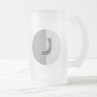 Letter J Frosted Glass Beer Mug