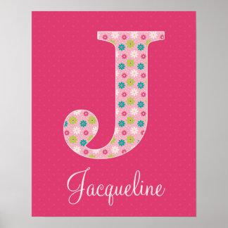 Letter J Initial Alphabet Poster for Girl