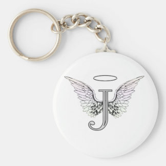 Letter J Initial Monogram with Angel Wings & Halo Basic Round Button Keychain