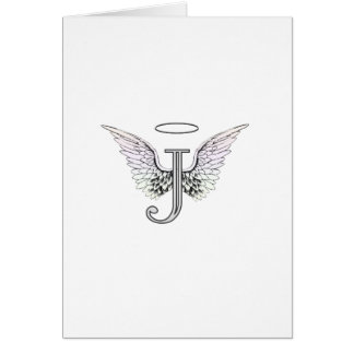 Letter J Initial Monogram with Angel Wings & Halo Card