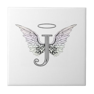 Letter J Initial Monogram with Angel Wings & Halo Ceramic Tile