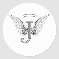 Letter J Initial Monogram with Angel Wings & Halo Classic Round Sticker