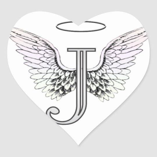 Letter J Initial Monogram with Angel Wings & Halo Heart ... Angel Wings Heart Halo
