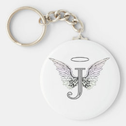 Letter J Initial Monogram with Angel Wings & Halo Keychain