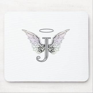 Letter J Initial Monogram with Angel Wings & Halo Mouse Pad