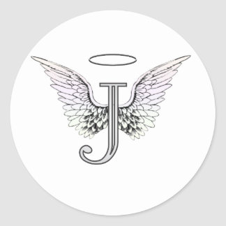 Letter J Initial Monogram with Angel Wings & Halo Round Stickers