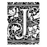 Letter J Medieval Monogram Vintage Initial Postcard