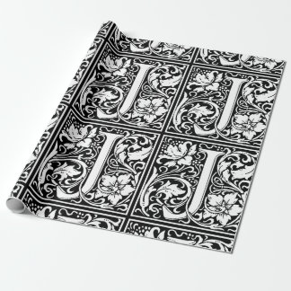 Letter J Medieval Monogram Vintage Initial Wrapping Paper