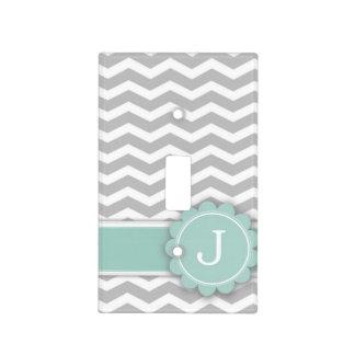 Letter J Mint Monogram Grey Chevron Light Switch Cover