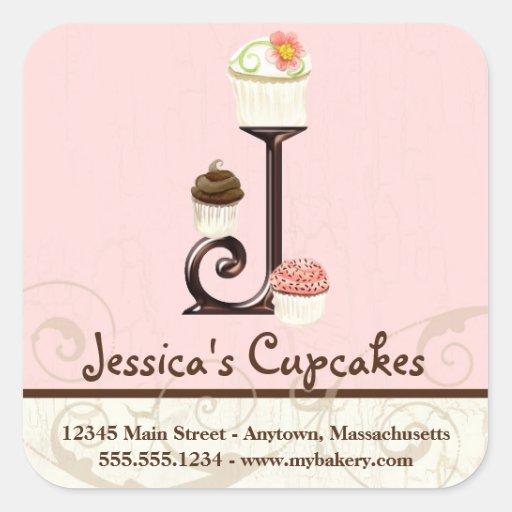 Letter J Monogram Cupcake Logo Business Stickers