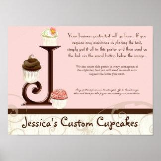 Letter J Monogram Dessert Bakery Business Poster