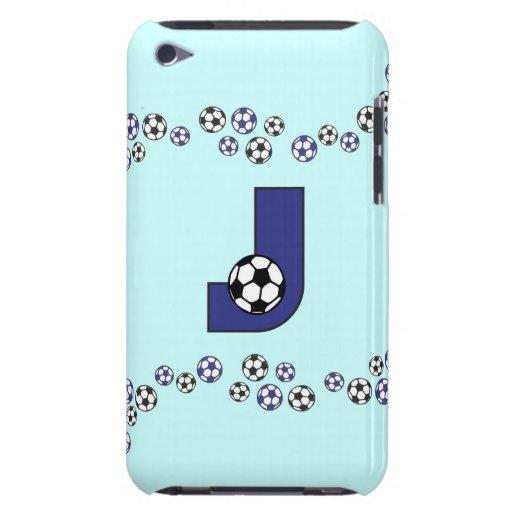 Letter J Monogram in Soccer Blue iPod Touch Cases