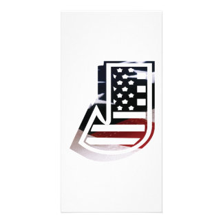 Letter J Monogram Initial Patriotic USA Flag Card