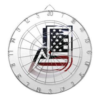 Letter J Monogram Initial Patriotic USA Flag Dartboard With Darts