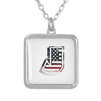 Letter J Monogram Initial Patriotic USA Flag Silver Plated Necklace