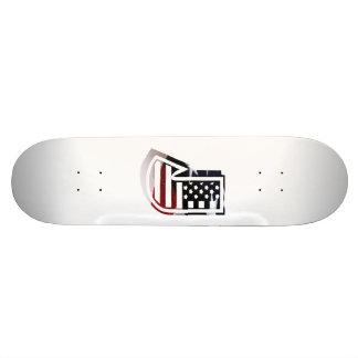 Letter J Monogram Initial Patriotic USA Flag Skateboard