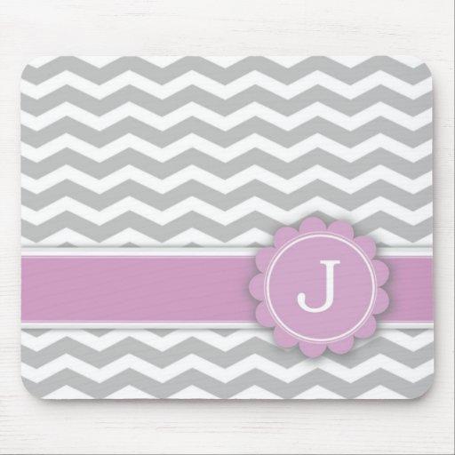 Letter J Pink Monogram Grey Chevron Mousepads