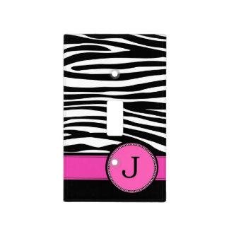 Letter J pink Monogram Zebra stripe Light Switch Cover