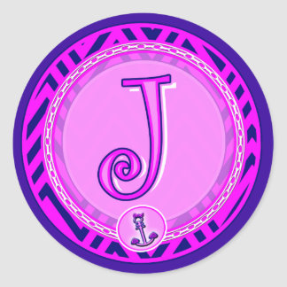 Letter 'J' Pink Nautical Chevron w/ Anchor  - Classic Round Sticker