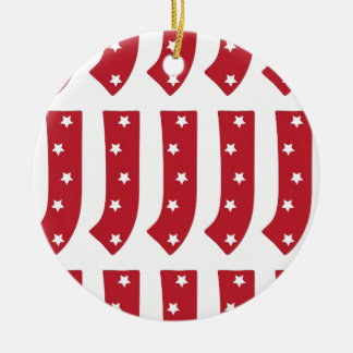 Letter J - White Stars on Dark Red Ceramic Ornament