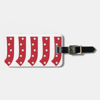 Letter J - White Stars on Dark Red Luggage Tag