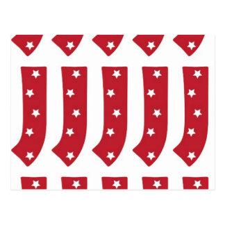 Letter J - White Stars on Dark Red Postcard