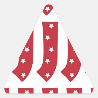 Letter J - White Stars on Dark Red Triangle Sticker