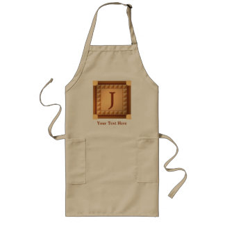 Letter J: Wood Look Initial with Custom Text Long Apron