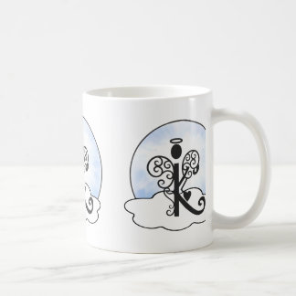 Letter K Alphabet Initial Monogram w Angel Clouds Coffee Mug