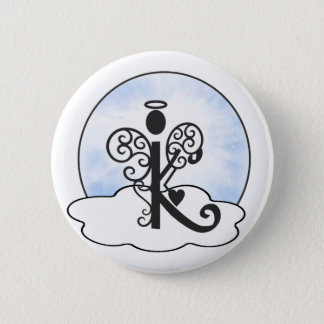 Letter K Alphabet Initial Monogram w Angel Clouds Pinback Button