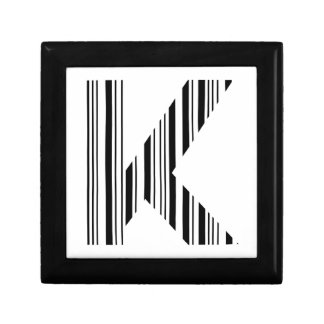LETTER K BAR CODE First Initial Barcode Pattern Jewelry Box