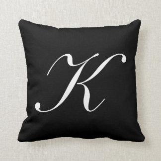 Letter K Black Monogram Pillow