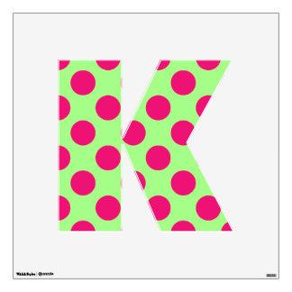 letter K cute kawaii polka dots shabby chic medium Wall Decal