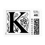 Letter K Fancy Initial Postage Stamps