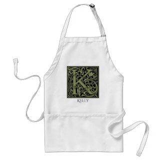 Letter K First Letter Monogram Personalized Adult Apron