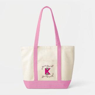 Letter K in Soccer Pink Monogram Tote Canvas Bag