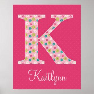 Letter K Initial Alphabet Poster for Girl