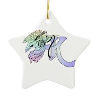 Letter K Initial Monogram Guardian Angel Blue Christmas Ornament