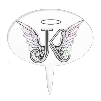 Letter K Initial Monogram with Angel Wings & Halo Cake Topper