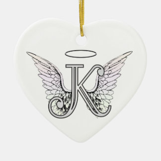 Letter K Initial Monogram with Angel Wings & Halo Ceramic Ornament
