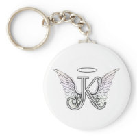 Letter K Initial Monogram with Angel Wings & Halo Keychain