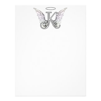 Letter K Initial Monogram with Angel Wings & Halo Letterhead