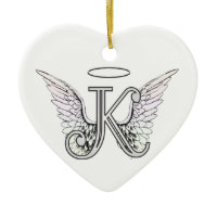 Letter K Initial Monogram with Angel Wings & Halo Christmas Tree Ornament