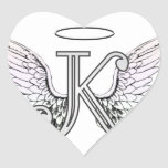 Letter K Initial Monogram with Angel Wings & Halo Heart Stickers
