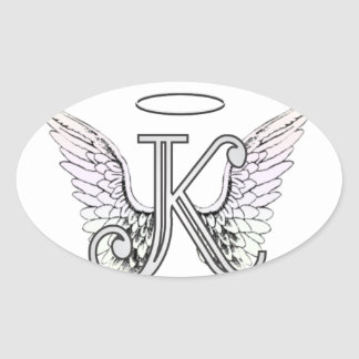 Letter K Initial Monogram with Angel Wings & Halo Stickers