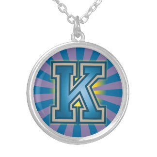 Letter K' Initial Silver Plated Necklace