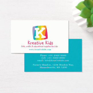 Letter K kids colorful block business card