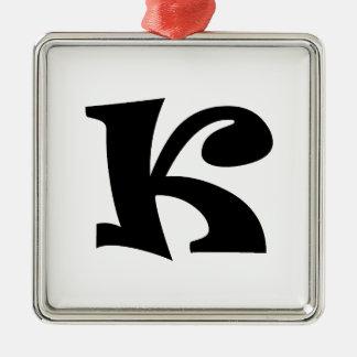 Letter K_large Metal Ornament